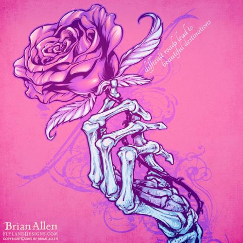 Skeleton Hand Holding Rose T-Shirt Design
