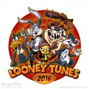 Looney Tunes parody illustration of Bugs, Sylvester, Tweety, Taz, and Daffy as thugs.