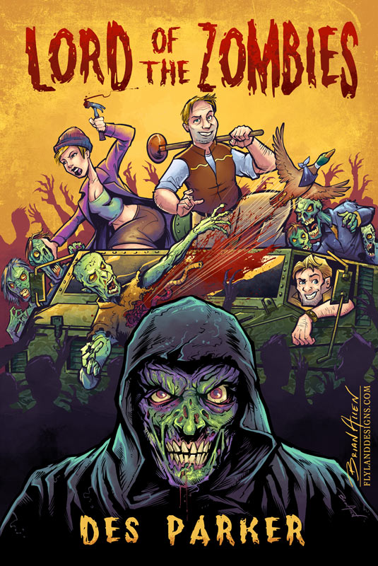 Book cover illustration of zombies