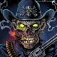 Zombie police officer illustration holding a gun and smoking cigar