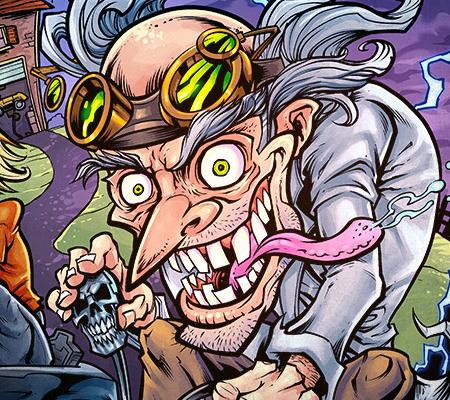 Mad scientist riding power wheel
