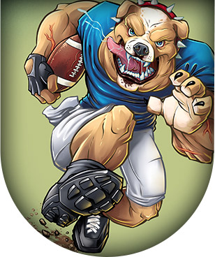 Mascot illustration of a bulldog football player