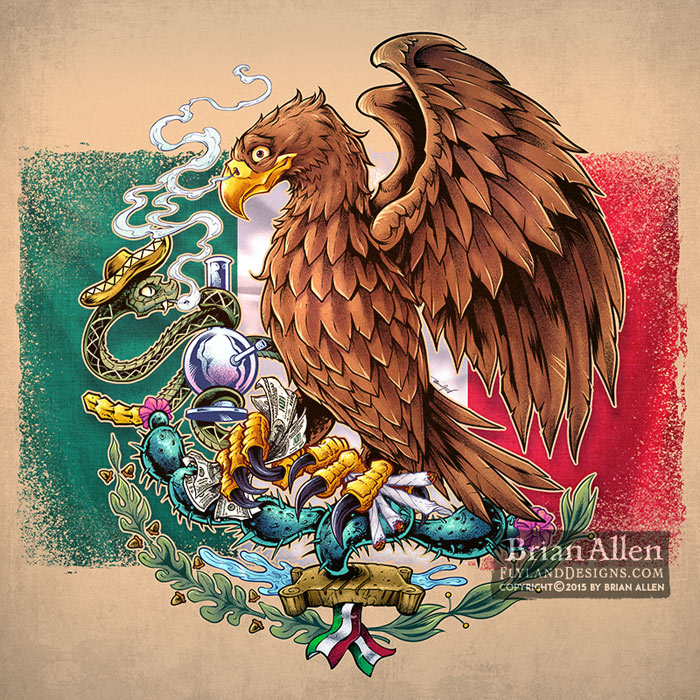 Mexican Flag eagle and snake t-s