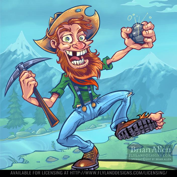crazy prospector illustration fo