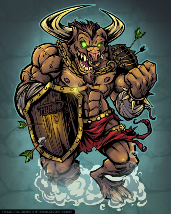 Muscular Minotaur with glowing g