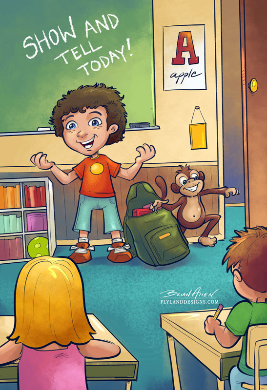Children's book illustrations of a young boy and a monkey cartoon character