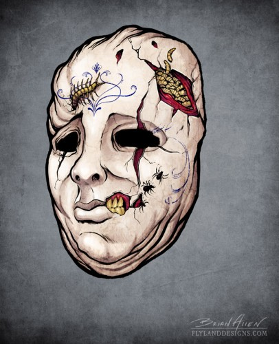Concept sketches of monsters for creating halloween masks
