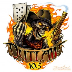 Logo design of an outlaw skeleton holding a gun