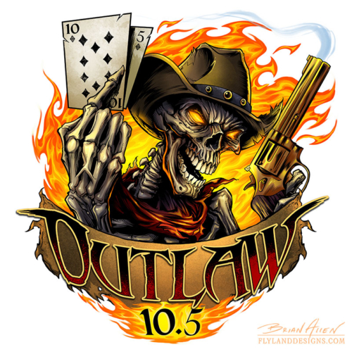 Logo design of an outlaw skeleton holding a gun