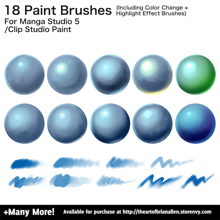 Clip Studio Paint (Manga Studio 5) Brushes Volume 1 - Flyland ...