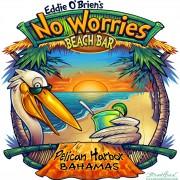 Custom T-Shirt Illustration of a cartoon pelican drinking on a tropical beach