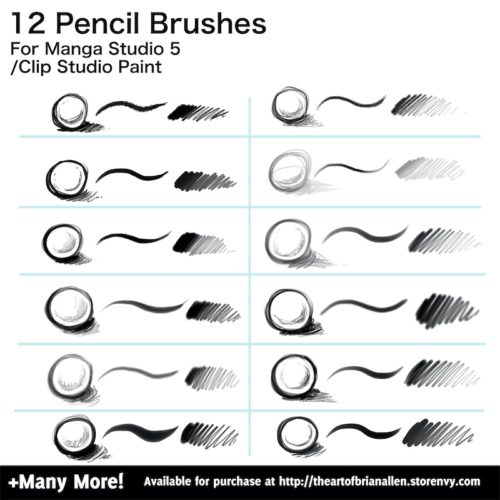 Brush Presets for custom pencil Brushes for Manga Studio 5 (Clip Studio Paint)