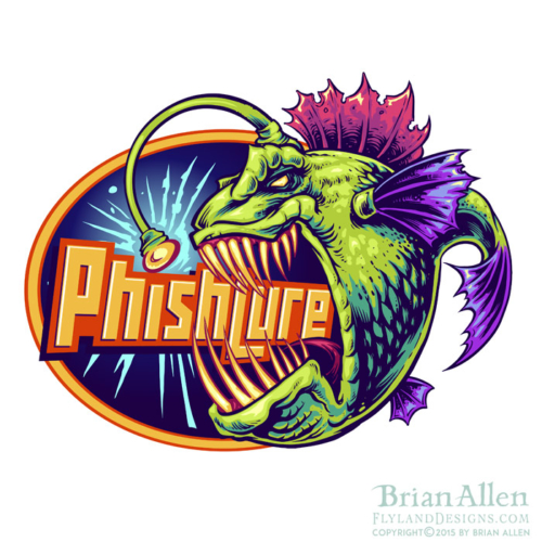 Logo design of an angry evil anglerfish in bright colors