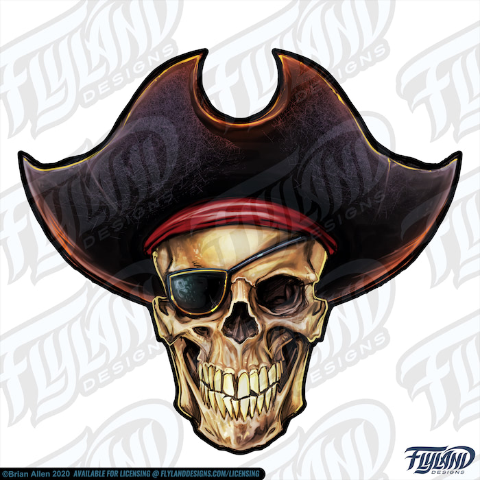 The skull has a brown hat with a red sash and is wearing an eyepatch over its right eye. It has its jaw clamped shut.  Stock Artwork by freelance illustrator Brian Allen