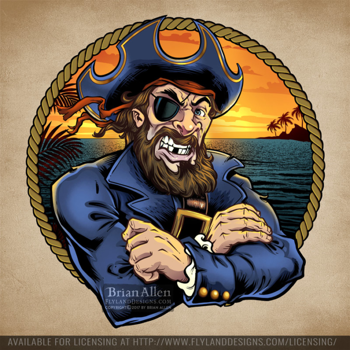 Illustration of a pirate captain