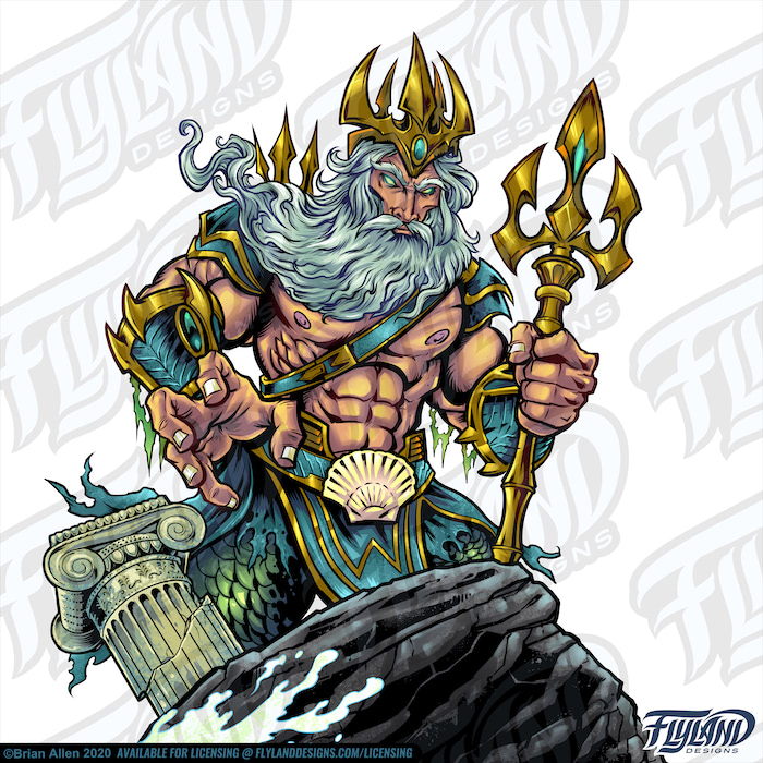 Poseidon Stands tall with his golden triton behind a rock that has a broken column. His clothes consist of a pair of golden gauntlets, a belt with a shell, teal and gold shoulder guards, pants made of green scales, and a crown. Stock Artwork by freelance illustrator Brian Allen
