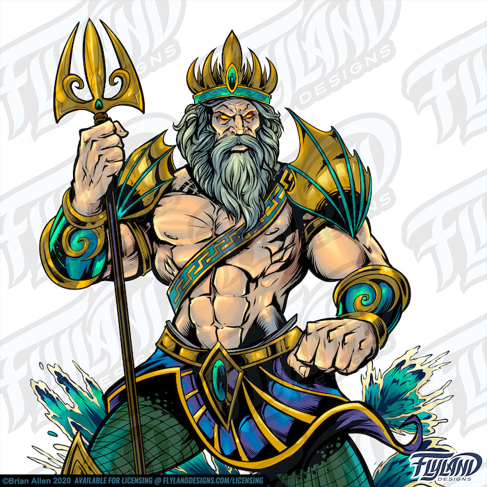 Poseidon Stands tall with his golden triton with water jumping behind him.  His outfit consists of two gauntlets, fin-like shoulder guards, a blue-violet shirt belt, green scale pants, and a golden crown.  Stock Artwork by freelance illustrator Brian Allen