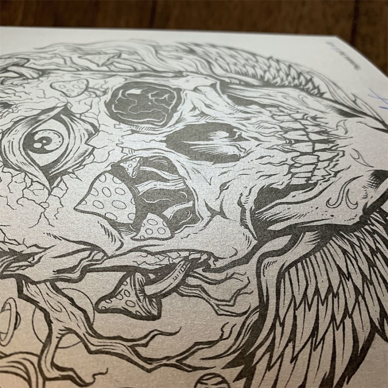 Artwork by Brian Allen printed o