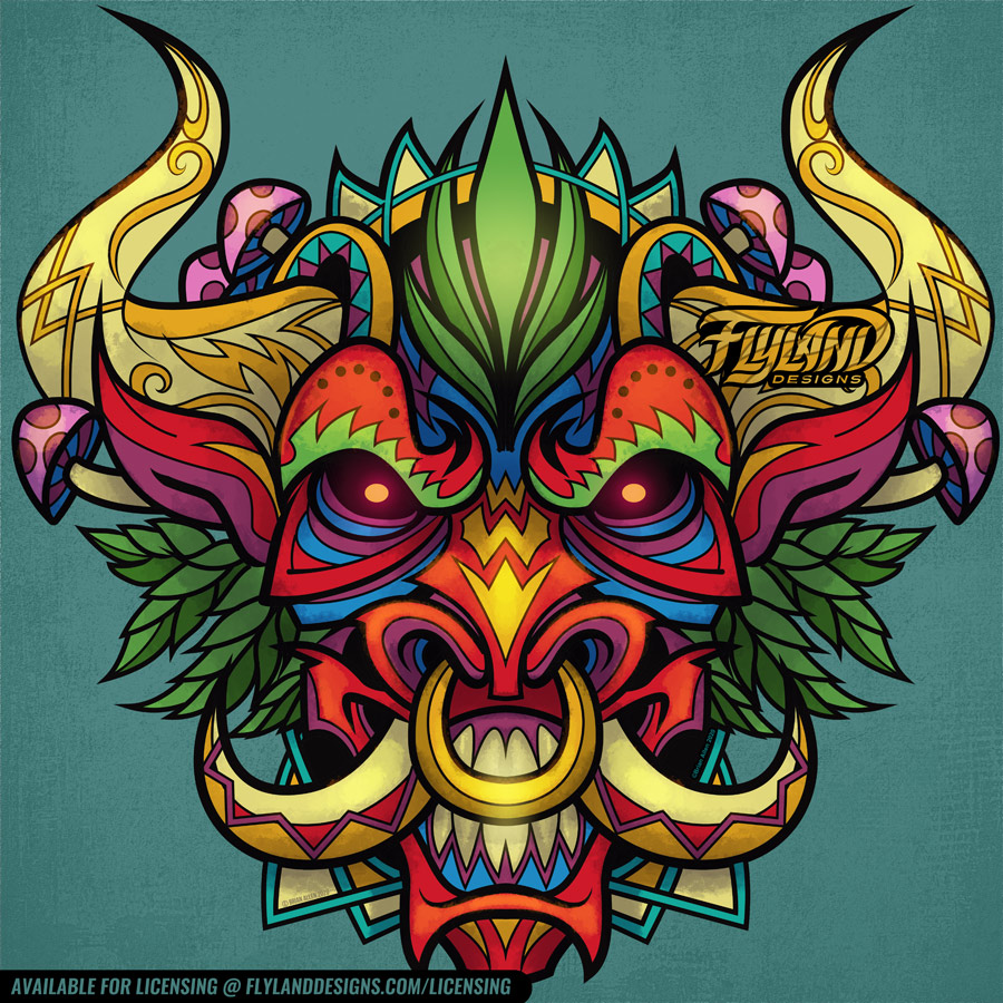 Brightly Multicolored bull with