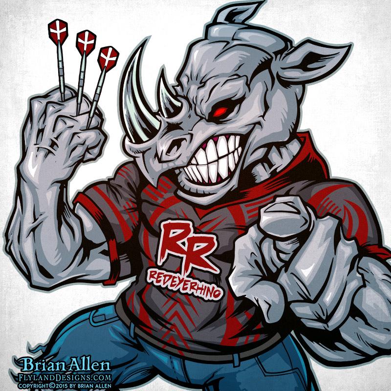 angry muscular Rhino mascot poin