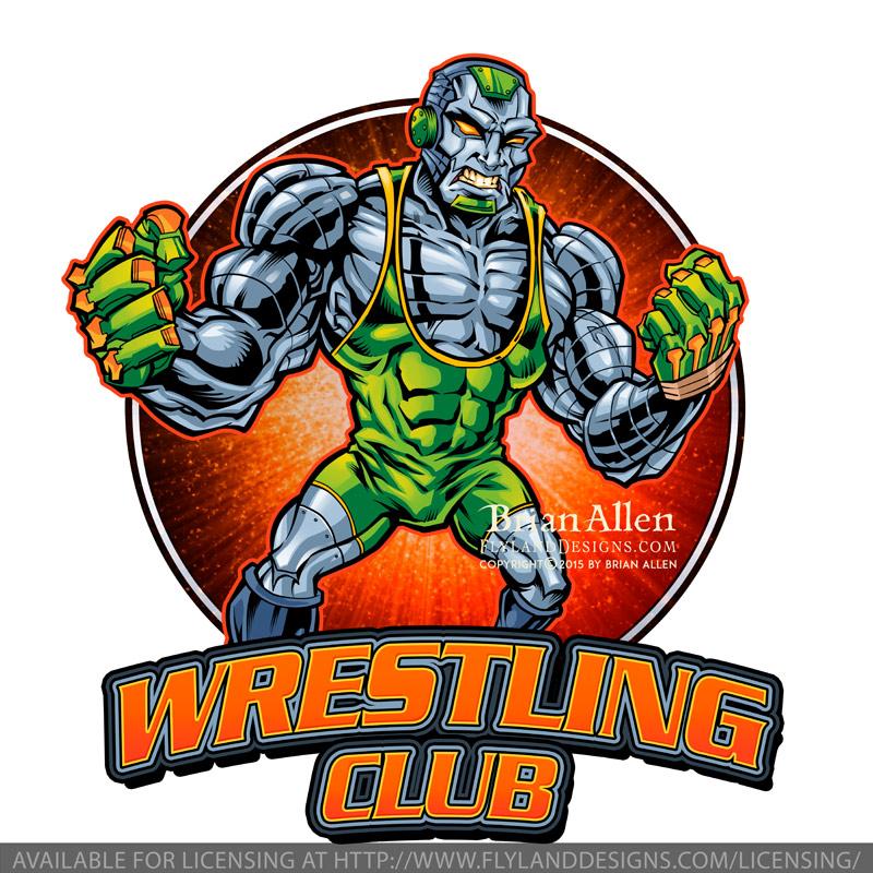 wrestiling Robot Mascot logo for