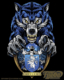 Evil blue wolf holding school cr