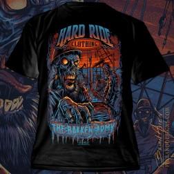 T-Shirt illustration of zombie roughnecks on a Bakken oil rig