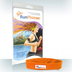 Packaging Illustration of a female jogger wearing sports headphones