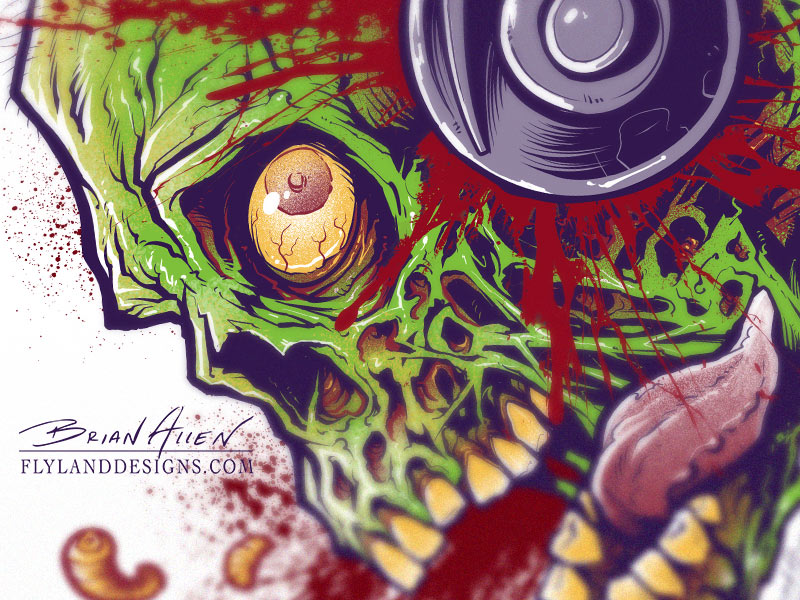 Moonshine Zombie Whiskey label illustration
