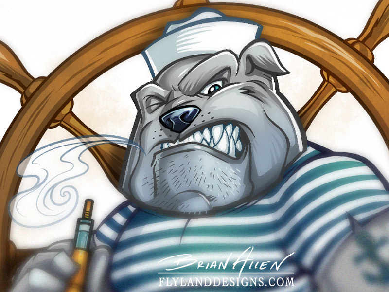 Logo design of a sailor bulldog using a vaping device