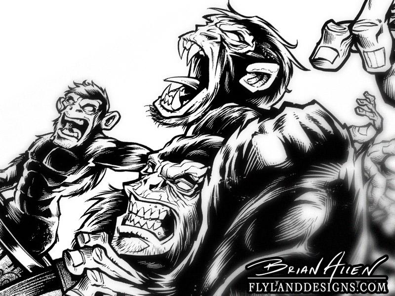 Evil monkeys jumping out of a barrel full of monkeys
