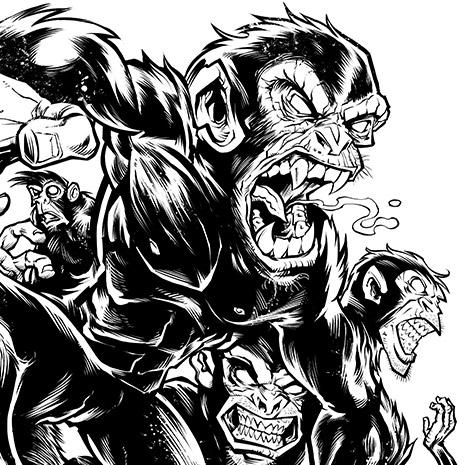 Barrel Of Evil Monkeys T Shirt Illustration Flyland