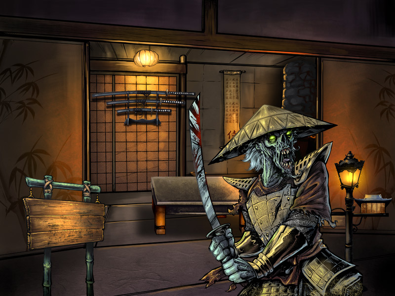 iPad app graphic design and illustration for Samurai game