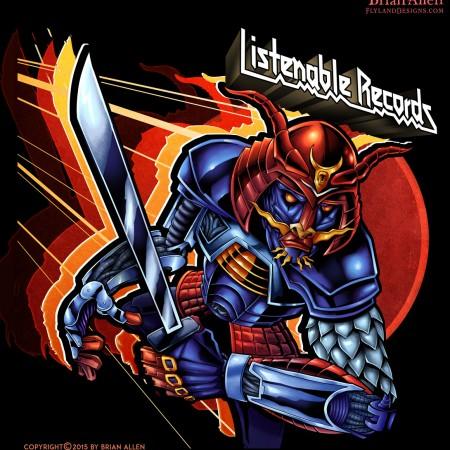 Robot samurai album cover illustration.