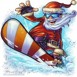Cartoon Christmas mascot illustration of Santa Cluas snowboarding.