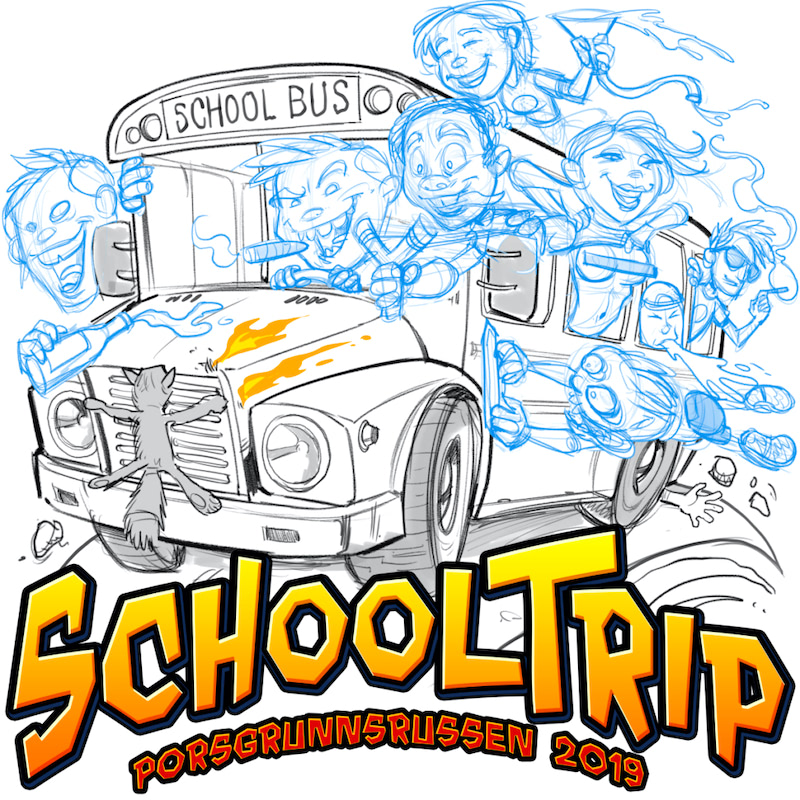 Bad kids drive a school bus chock full of cigarettes alcohol and others sins Russ Logo