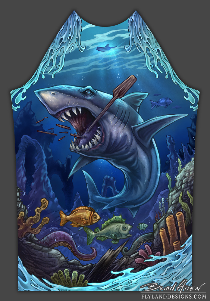 Underwater scene of a shark for a DTG rashguard