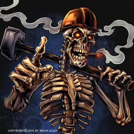 Skeleton holding a sledgehammer wearing a hard-hat.