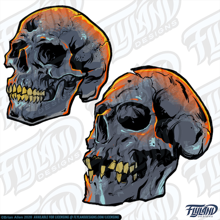 Twin Skulls are two skulls with similar colors scheme; the one on the right has more damage done to the crown's top and several teeth missing. The skull on the left only has a few cracks and no other damage visible. The color scheme is a dark blue-grey as the primary color and yellow, orange, light blue-grey as the skulls' high and lowlights. Stock Artwork by freelance illustrator Brian Allen