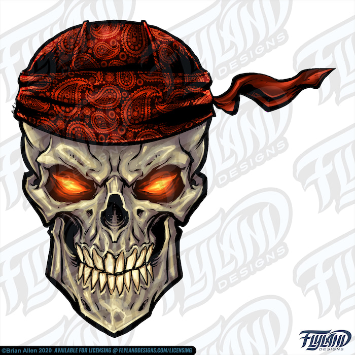 A skull wearing a red patterned bandana with glowing yellow and orange eyes, and its color is a beige-grey. The skull can work as both a pirate and a biker. Stock Artwork by freelance illustrator Brian Allen