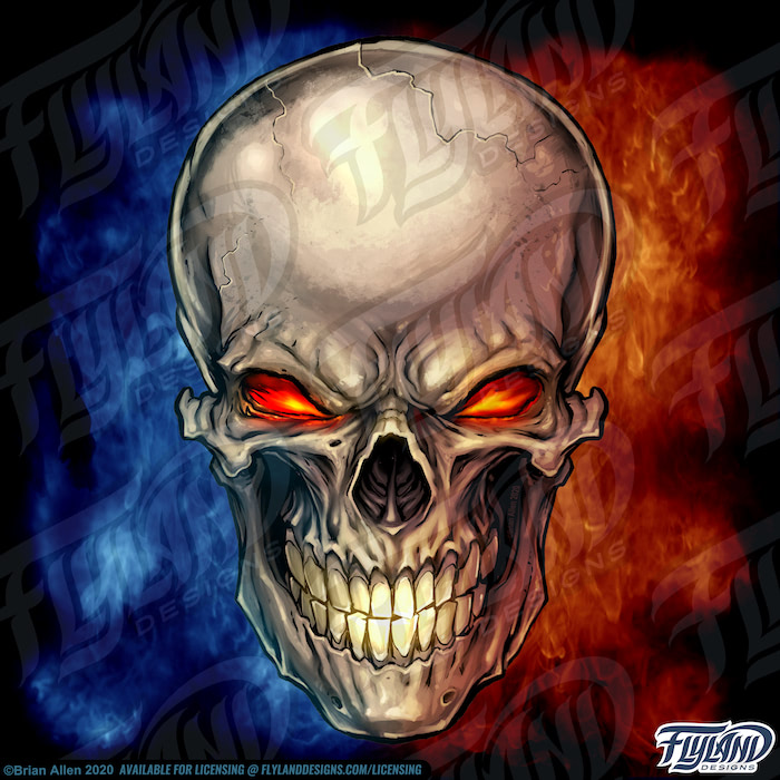 A skull sits above a blue and red flames, and its yellow eyes glow with an orange accent. The sand-colored skull's teeth have yellow over time. Stock Artwork by freelance illustrator Brian Allen