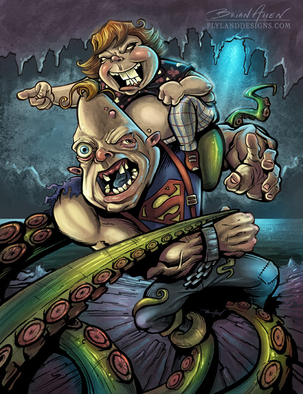 Illustration of Chunk and Sloth from the goonies fighting a giant octopus.