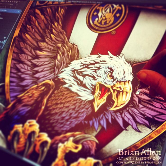 Patriotic eagle silk-screen t-shirt design.