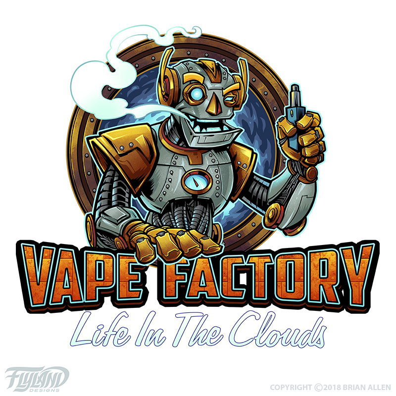 Robot vaping, blowing smoke out
