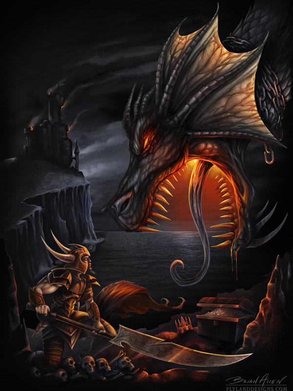 Fantasy digital painting of a dragon and a knight