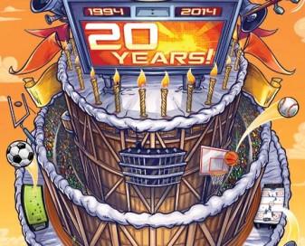 Magazine cover illustration of a giant sports stadium shaped like a birthday cake