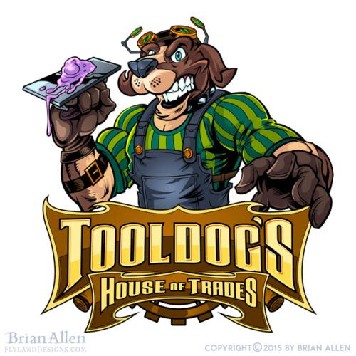 Logo illustration of a dog in st