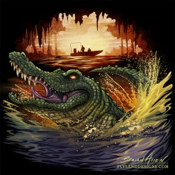 Illustration of an alligator jumping out of a swamp