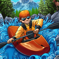 T-Shirt illustration of a young man kayaking in the mountains