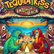 Custom Bar T-Shirt illustration of two parrots drinking beer on paradise island